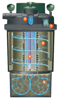 Filtro laghetto a scomparsa pressure flo 5000 con uvc for Pompa filtro laghetto