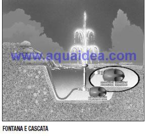 Pompa fontana 3500 con giochi d 39 acqua e derivazione per for Pompa e filtro laghetto