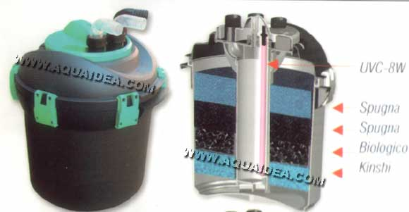 Filtro laghetto a pressione 20 lt prexo for Filtro per laghetto esterno